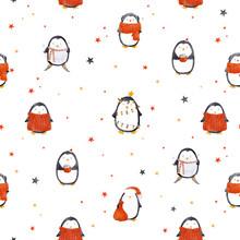 Watercolor Christmas Baby Peng...