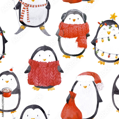 Cuadros en Lienzo Watercolor christmas baby penguin pattern