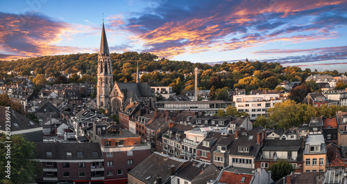 Pontviertel in Aachen at sunset Canvas Print