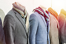 Men's Tweed Sport Coats With Scarves In Clothing Store