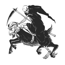 Reaper Grim Riding A Goat - Black And White - Gothic Skull