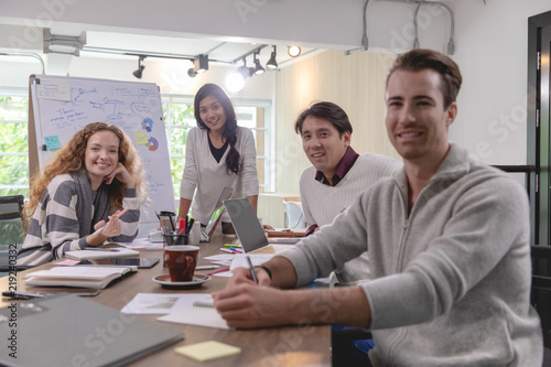 Fototapety, obrazy: Group of diversity businessmen working together brainstorming in modern office