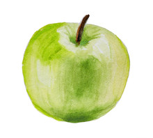 Hand Drawn Green Apple Isolate...