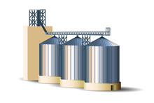 Silos Of Grain Elevator. Steel...