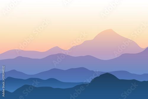 Foto auf Gartenposter Beige Realistic mountain landscape vector illustration. Silhouettes of mountains against sunset sky