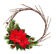 Christmas Wreath With Dry Twig...