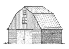 Barn Illustration, Drawing, Engraving, Ink, Line Art, Vector