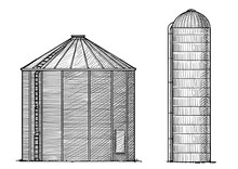 Silo Illustration, Drawing, En...
