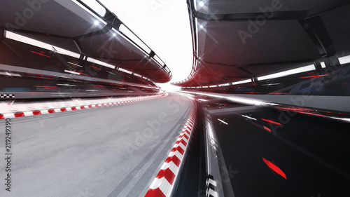 Keuken foto achterwand Motorsport illuminated race track road with speed motin blur