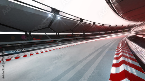 Foto op Plexiglas Motorsport curved race track with speed motin blur