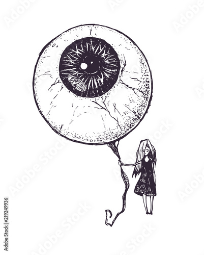 The Girl With The Eyeball In A Form Of The Balloon Ink Drawing