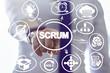 canvas print picture - Businessman clicks a scrum word button on a virtual panel. Scrum Development Process Business concept. Scheme of Agile Methodology.