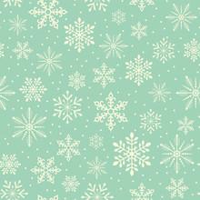 Seamless Christmas Snowflake Snowfall Pattern