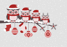 Cute Owls Family Christmas Seasonal Celebration Illustration, Vector Clipart