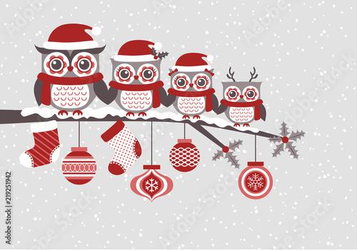 Fototapeta premium słodkie sowy rodzina boże narodzenie sezonowe uroczystości ilustracja, wektor clipart