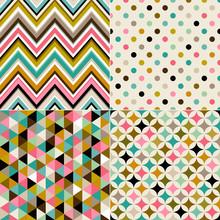 Seamless Multicolor Geometric Pattern Set