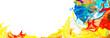 canvas print picture - Farbmischung mit Gouache-Farben, freigestellter Rahmen
