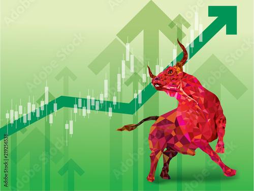 Photo Bullish symbols on stock market vector illustration