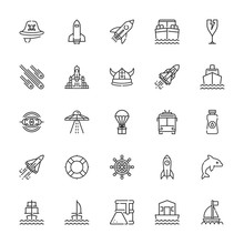 Collection Of 25 Ship Outline Icons