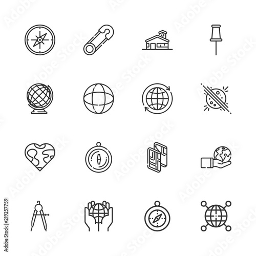 Fotografia  Collection of 16 geography outline icons