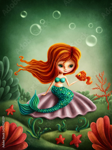 Beautiful little mermaid girl Tablou Canvas