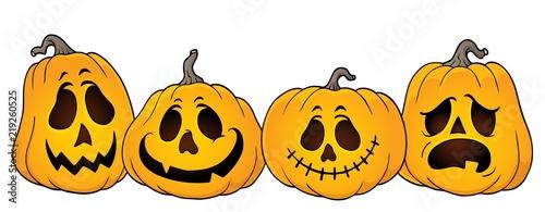 Foto op Canvas Voor kinderen Halloween pumpkins thematics image 1