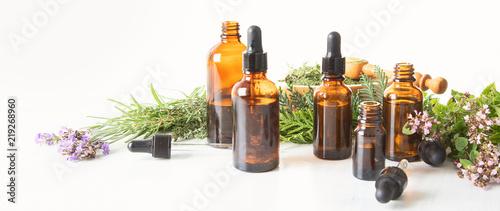 Bottles of essential oils Canvas Print