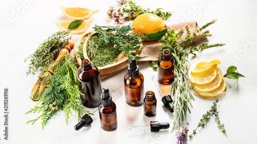 Fototapeta Bottles of essential oils obraz