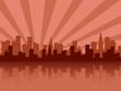 Red city skyline silhouette