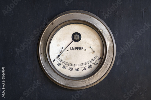 Photo Old ammeter in a factory.