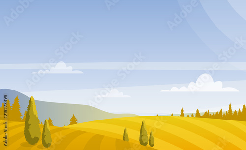 Staande foto Blauwe hemel Vector illustration of beautiful autumn fields landscape with sky and mountains in pastel colors. Countryside concept in flat style.