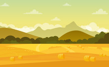 Vector Illustration Of Autumn Landscape With Fields And Mountains At Sunset With Beautiful Sky In Pastel Colors In Flat Cartoon Style.