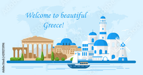 Vector illustration of Greece travel concept.Welcome to Greece. Santorini buildings, Acropolis and temple icons. Tourism banner in bright colors and flat cartoon style.