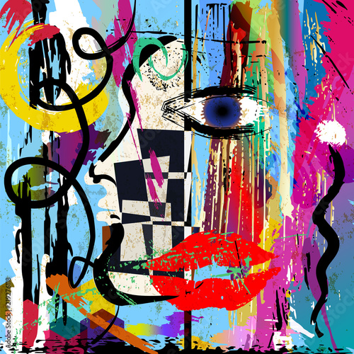 abstract womans face look, eye, mouth, vetcor art, fictional artwork