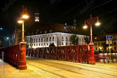Obraz Miasto Wrocław nocą, Most Piaskowy - fototapety do salonu