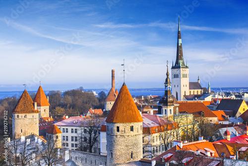 Tallinn old town in winter, Estonia. Famous tourist destination.