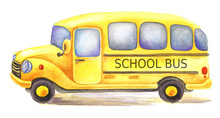 Yellow Watercolor School Bus D...