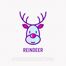 Cartoon Christmas Reindeer Thin Line Icon. Modern Vector Illustration.