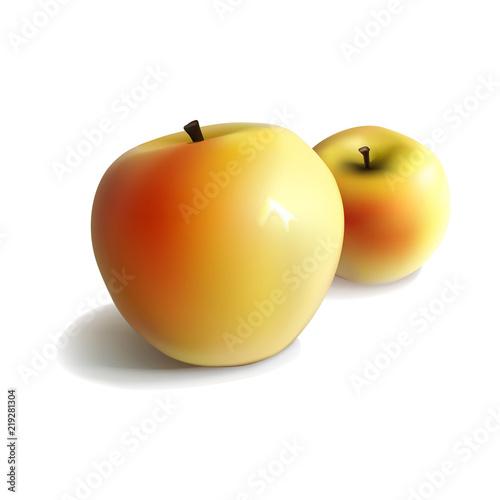 Fototapeta jabłko dwa-zolte-jablka-na-bialym-tle