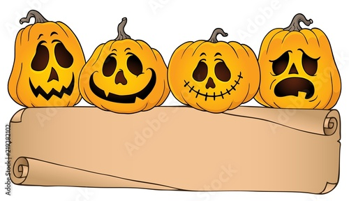 Wide parchment and Halloween pumpkins 4