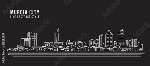 Cityscape Building Line art Vector Illustration design - Murcia city