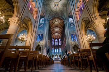 PARIS, FRANCE - February 15, 2018 : Interior of the  Notre Dame de Paris. France