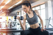 Sporty Woman Lifting Dumbbells In The Gym