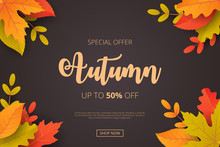 Autumn Sale Background With Le...