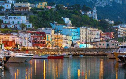 Sunset view of Marina Grande, Capri island, Italy