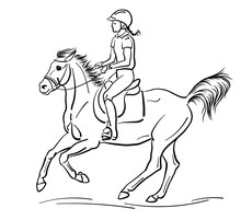 A Sketch Of A Young Girl Cantering On A Pony.