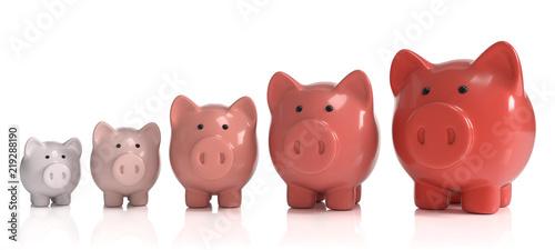 3D Sparschweine Wachstum rot Canvas Print
