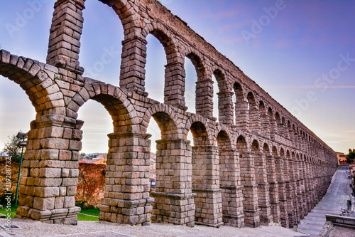Fototapeta The famous Roman aqueduct of Segovia with more than 2000 years of antiquity