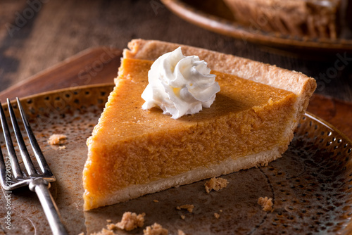 Valokuva  Pumpkin Pie with Whipped Cream