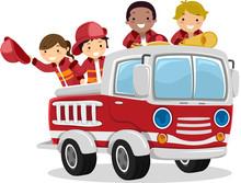 Stickman Kids Fire Truck Illus...